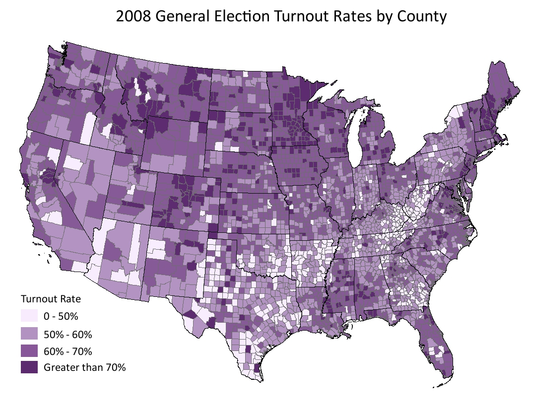 National Turnout Rates And Rankings Statchat - Us-2012-election-map-by-county