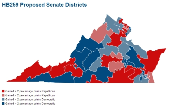 Virginia Map of Senate Redistricting Plan HB259