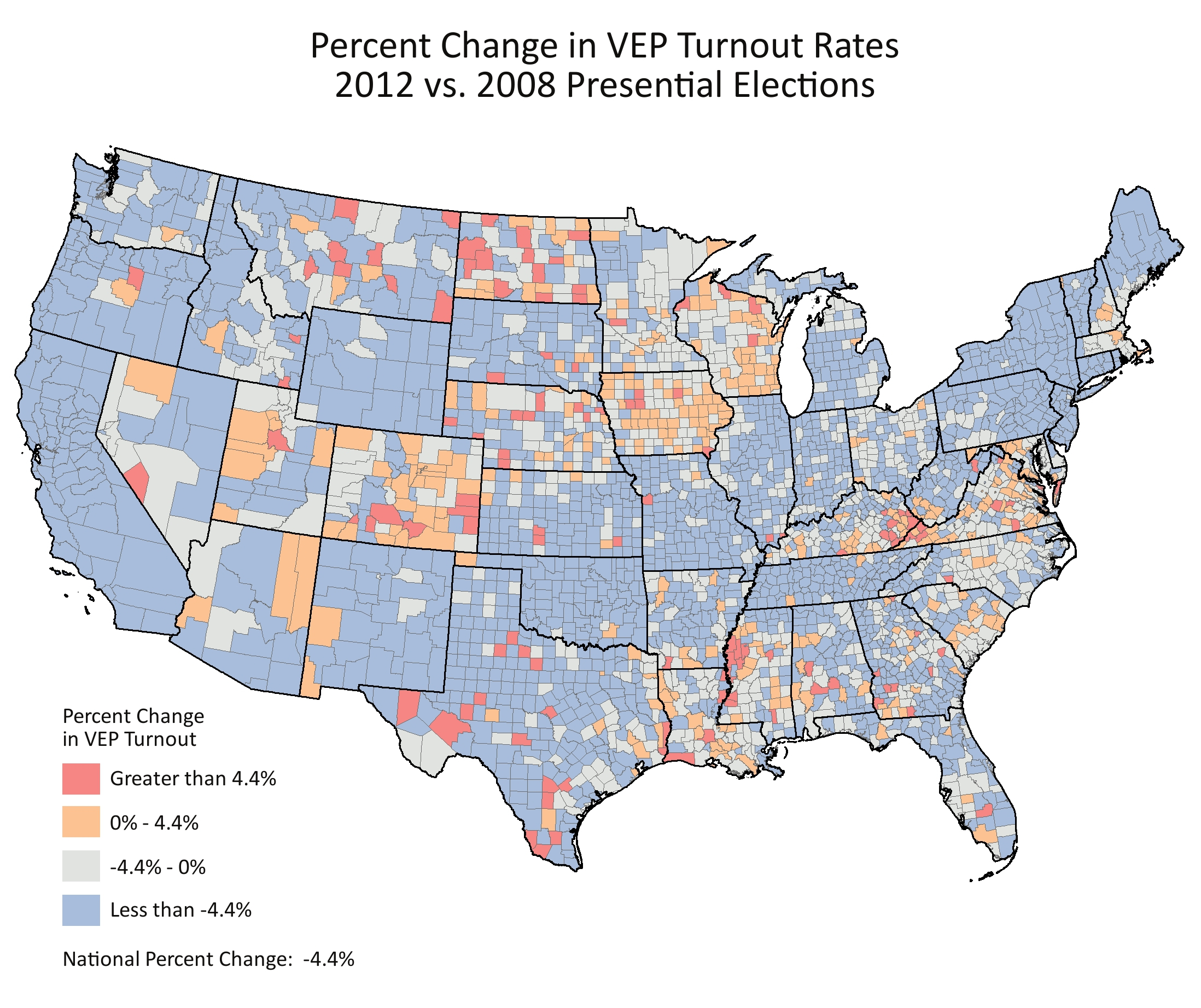 Percent Change in Turnout Rates, 2012 vs. 2008 Presential Elections