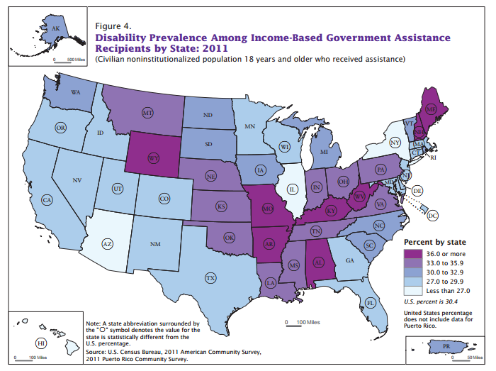 Disability Prevalence Among Income-Based Government Assistance Recipients by State, 2011