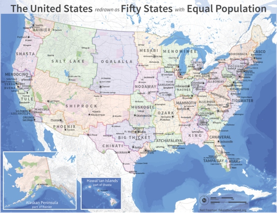 Fifty States with Equal Population