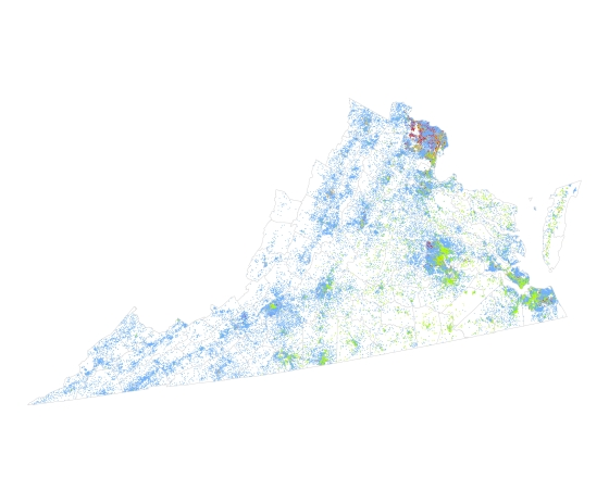 Virginia Dot Density Map (1 dot = 10 people)